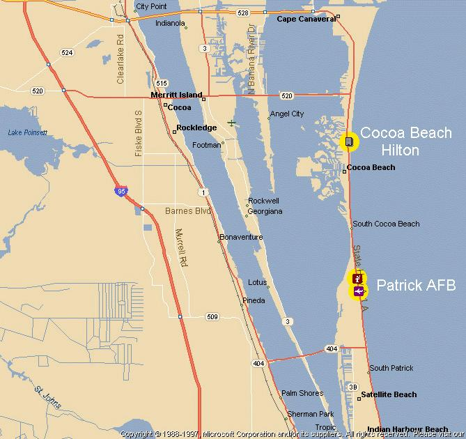 Area Map Of The Cocoa Beach Fl Patrick Afb